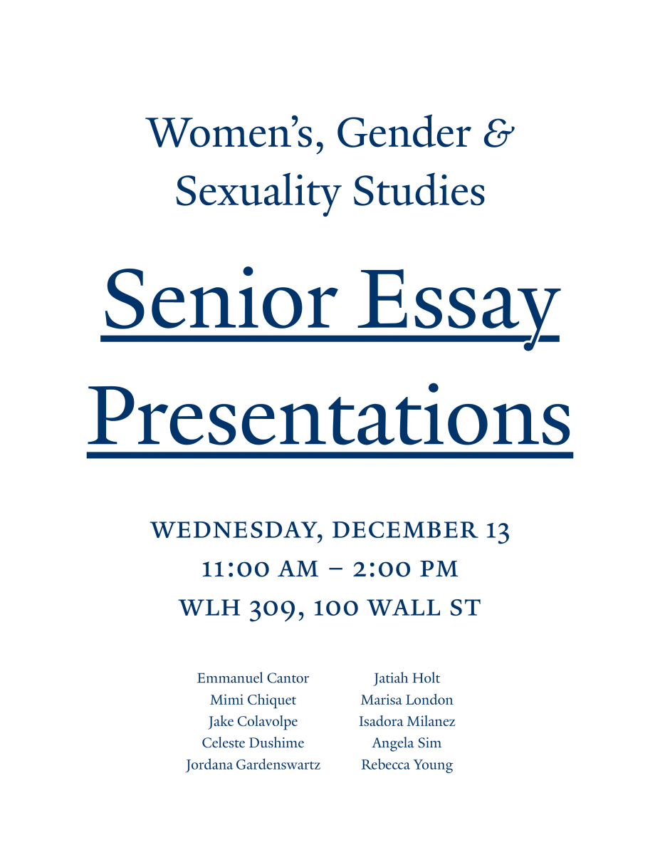 wgss senior essay presentations women s gender and sexuality  wgss senior essay presentations